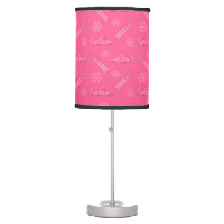 Pink bobsled pattern table lamp