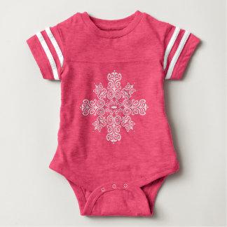 Pink bodystocking baby foot, white Flake baroque Baby Bodysuit