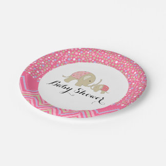 Pink Bohemian Elephant and Chevron Baby Shower 7 Inch Paper Plate