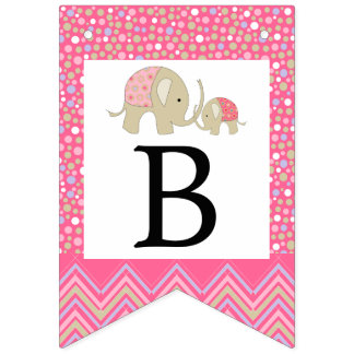 Pink Bohemian Elephant and Chevron Baby Shower Bunting Flags