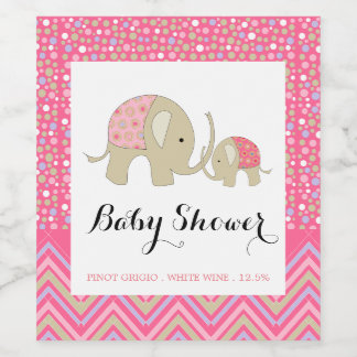 Pink Bohemian Elephant and Chevron Baby Shower Wine Label