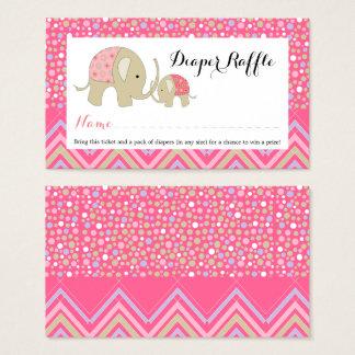 Pink Bohemian Elephant Baby Diaper Raffle Ticket