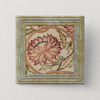 Pink Bohemian Flowers 2 Inch Square Button