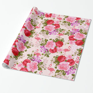 Pink bohemian roses floral tropical flamingo wrapping paper