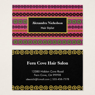 Pink Boho Aztec Pattern Hipster Tribal Business Card