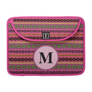Pink Boho Aztec Pattern Monogram Sleeve For MacBook Pro