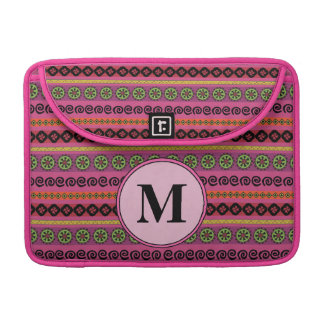 Pink Boho Aztec Pattern Monogram Sleeve For MacBooks
