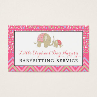 Pink Boho Elephant, Babysitting, Day Nursery Business Card