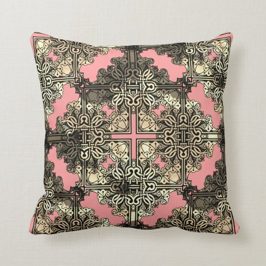 Pink Boho Floral Bohemian Celtic Knot Throw Pillow