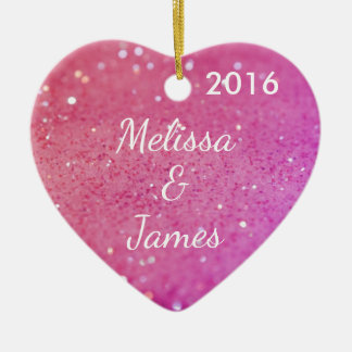 Pink Bokeh Heart Any Name Personalised Decoration Ceramic Heart Ornament