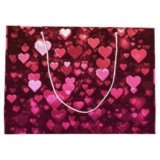 Pink Bokeh Hearts Digital Background Wallpaper Large Gift Bag