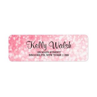 Pink Bokeh Lights Sweet 16 Return Address Labels