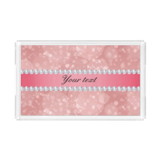 Pink Bokeh Sparkles and Diamonds Personalized Acrylic Tray