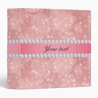 Pink Bokeh Sparkles and Diamonds Personalized Binder