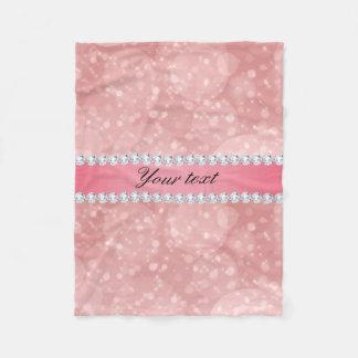 Pink Bokeh Sparkles and Diamonds Personalized Fleece Blanket