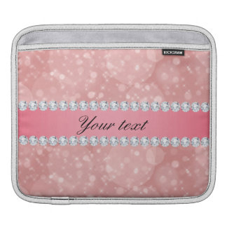 Pink Bokeh Sparkles and Diamonds Personalized iPad Sleeve