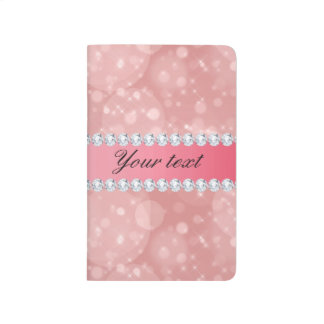 Pink Bokeh Sparkles and Diamonds Personalized Journals