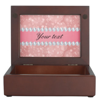 Pink Bokeh Sparkles and Diamonds Personalized Keepsake Box