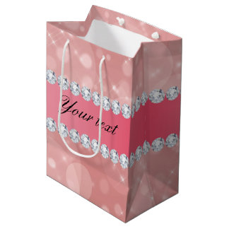 Pink Bokeh Sparkles and Diamonds Personalized Medium Gift Bag