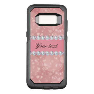 Pink Bokeh Sparkles and Diamonds Personalized OtterBox Commuter Samsung Galaxy S8 Case