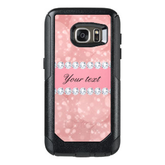 Pink Bokeh Sparkles and Diamonds Personalized OtterBox Samsung Galaxy S7 Case