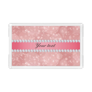Pink Bokeh Sparkles and Diamonds Personalized Perfume Tray