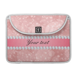 Pink Bokeh Sparkles and Diamonds Personalized Sleeves For MacBook Pro