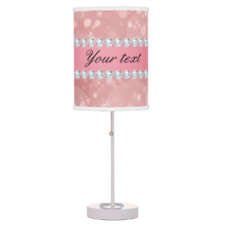 Pink Bokeh Sparkles and Diamonds Personalized Table Lamps