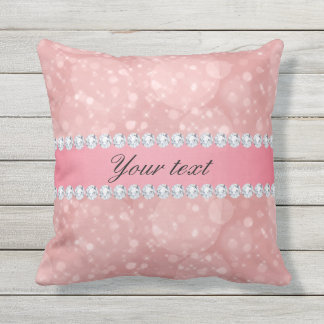 Pink Bokeh Sparkles and Diamonds Personalized Throw Pillow