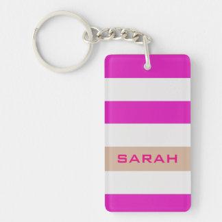 Pink Bold Stripes with Custom Name Single-Sided Rectangular Acrylic Keychain