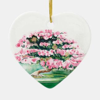 Pink Bonsai Ceramic Heart Ornament
