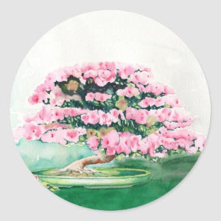 Pink Bonsai Round Sticker