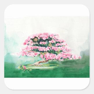 Pink Bonsai Square Sticker