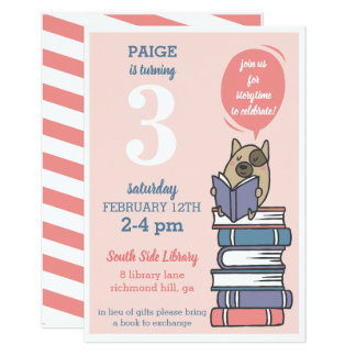 Pink Book Birthday Party Reading Invitation