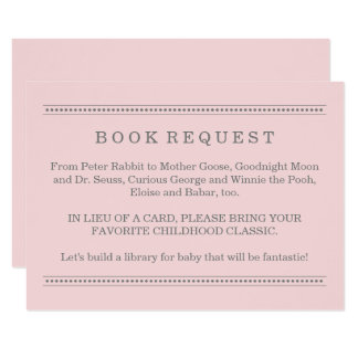Pink Book Request | Baby Shower Enclosure Card