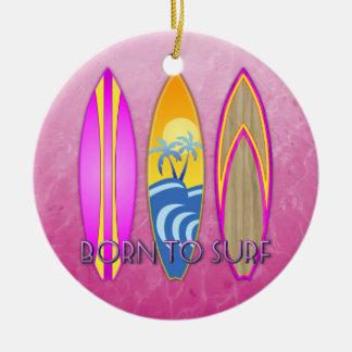 Pink Born To Surf Ceramic Ornament