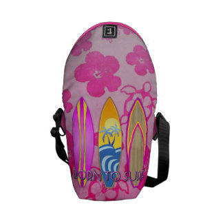 Pink Born To Surf Courier Bags
