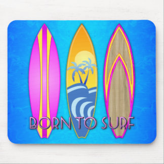Pink Born To Surf Mouse Pad