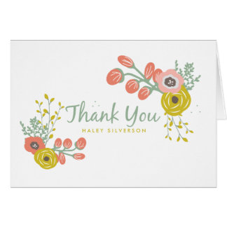 Pink Botanical Thank You Card