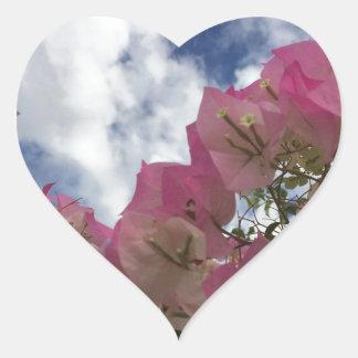 Pink bougainvillea heart sticker