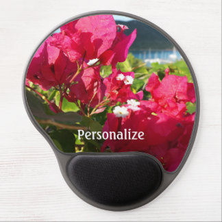 Pink Bougainvillea Island Harbor in Background Gel Mouse Pad