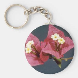 Pink Bouganvillea spectabilis flowers Keychain