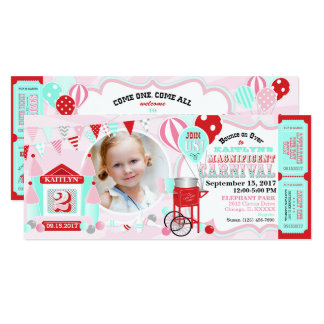 Pink Bounce House Carnival Birthday Card
