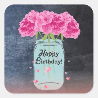 Pink Bouquet Birthday Stickers