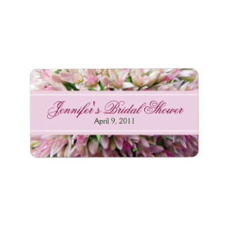 Pink Bouquet Bridal Shower Label in Burgundy