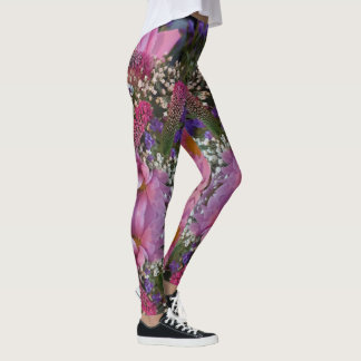 pink bouquet floral fashion leggings