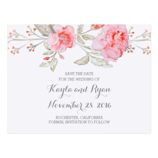 Pink Bouquet Floral Watercolor Save the Date Postcard