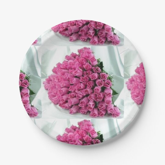 Pink Bouquet of Roses Paper Plates 7 Inch Paper Plate