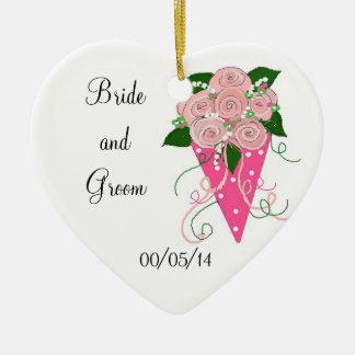 Pink Bouquet Save the Date Double-Sided Heart Ceramic Christmas Ornament