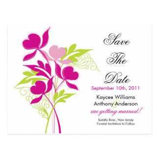 Pink Bouquet Save The Date POST CARD! Postcard